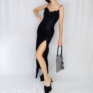 80's scalloped neck lace gown